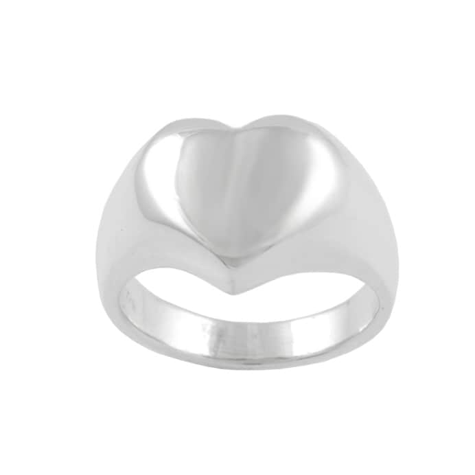 Journee Collection  Sterling Silver Solid Heart Ring