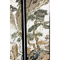 Handmade Wood and Rice Paper Landscape Shoji Screen (China) - Thumbnail 1