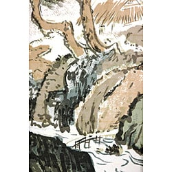 Handmade Wood and Rice Paper Landscape Shoji Screen (China) - Thumbnail 2