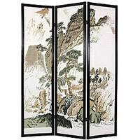 Handmade Wood and Rice Paper Landscape Shoji Screen (China)