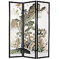 Handmade Wood and Rice Paper Landscape Shoji Screen
