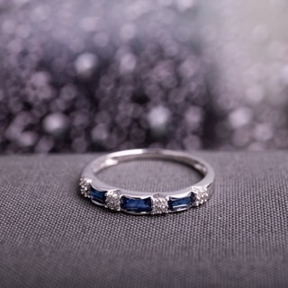 Link to Miadora 10k White Gold Sapphire and 1/10ct TDW Diamond Ring (H-I, I1-I2) Similar Items in Rings