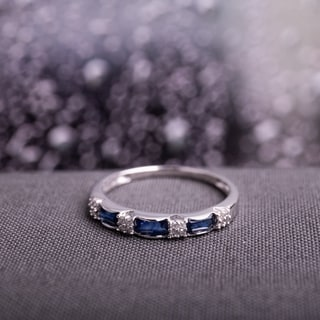 Miadora 10k White Gold Sapphire and 1/10ct TDW Diamond Ring