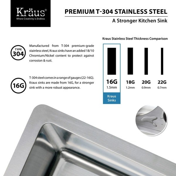 kraus 30 inch farmhouse single bowl stainless steel kitchen sink with noisedefend free shipping today - Kraus Sinks