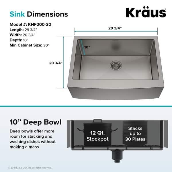 Shop Kraus KHF200-30 Farmhouse 30 inch 1-Bowl Stainless ...