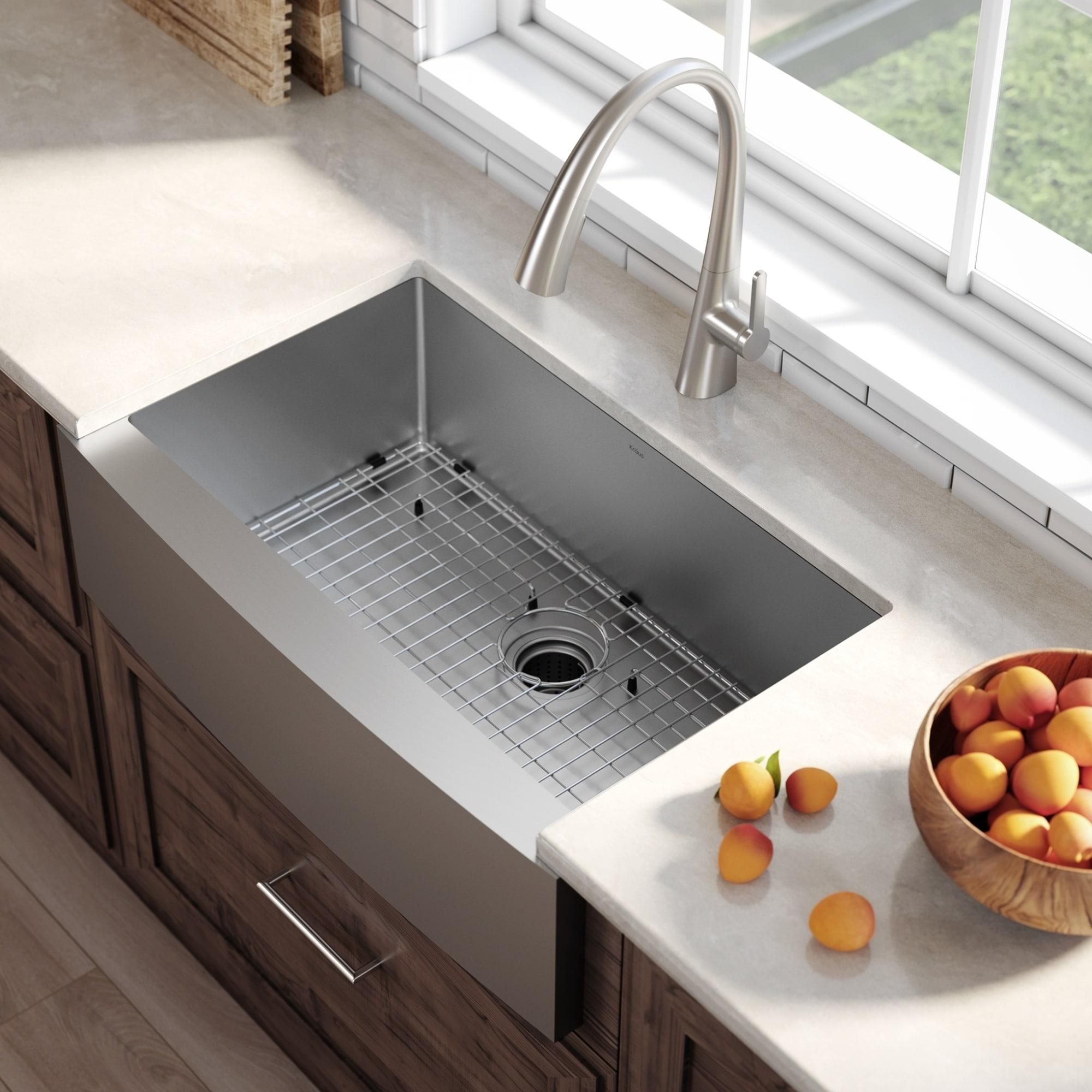 Kraus KHF200-30 Farmhouse 30 inch 1-Bowl Stainless Steel Kitchen Sink