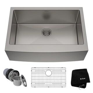 Kraus KHF200-30 Farmhouse Apron Front 30-in 16G 1-Bowl Satin Stainless Steel Kitchen Sink, Grid, Strainer, Towel