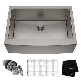 KRAUS 30 Inch Farmhouse Single Bowl Stainless Steel Kitchen Sink with NoiseDefend Soundproofing