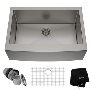 kraus 30 inch farmhouse single bowl stainless steel kitchen sink with noisedefend soundproofing - Kitchen Sink And Faucet Sets