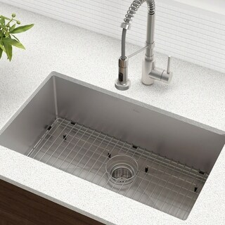 KRAUS 30 Inch Undermount Single Bowl 16 Gauge Stainless Steel Kitchen Sink with NoiseDefend Soundproofing