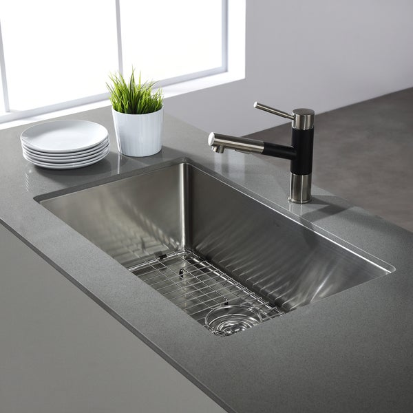 KRAUS 32 Inch Undermount Single Bowl 16 Gauge Stainless Steel Kitchen Sink  With NoiseDefend Soundproofing   Free Shipping Today   Overstock.com    11477728