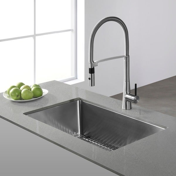 KRAUS 32 Inch Undermount Single Bowl 16 Gauge Stainless Steel Kitchen Sink with NoiseDefend Soundproofing