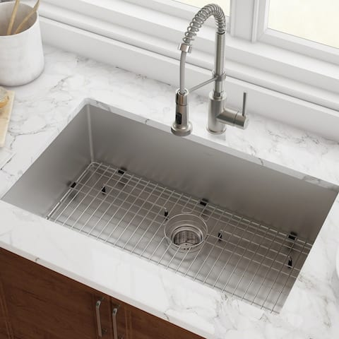 KRAUS KHU100-32 Undermount 32 inch 1-Bowl Stainless Steel Kitchen Sink