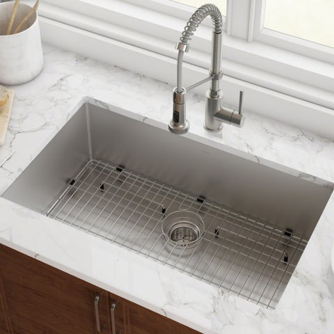 Kraus KHU100-32 Undermount 32-in 16G 1-Bowl Satin Stainless Steel Kitchen Sink, Grid, Strainer, Towel