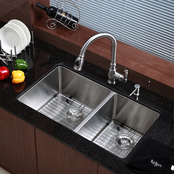 kraus 33 inch undermount 6040 double bowl 16 gauge stainless steel kitchen sink with. beautiful ideas. Home Design Ideas