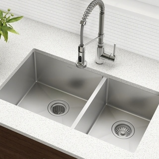 Kraus 33 Inch Undermount 60 40 Double Bowl 16 Gauge Stainless Steel Kitchen Sink With