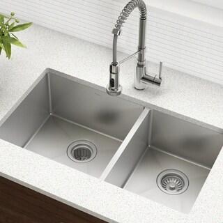 KRAUS 33 Inch Undermount 60/40 Double Bowl 16 Gauge Stainless Steel Kitchen  Sink With