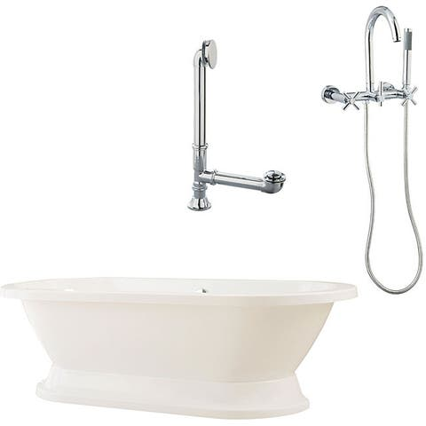 Capri Plinth Oval Tub and Wall Mount Faucet Package