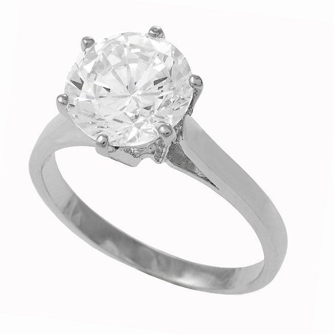 Sterling Silver Cubic Zirconia Solitaire Wedding Ring