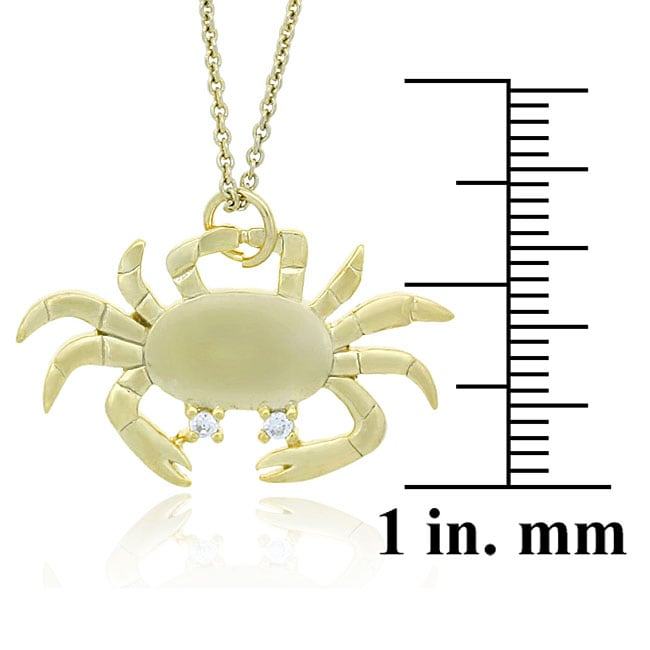 Icz Stonez 18k Yellow Gold over Sterling Silver Crab Necklace - Thumbnail 1