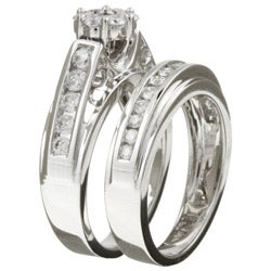 14k White Gold 1 Carat TDW Diamond Wedding Ring Set (G-H, I2)