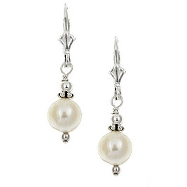 Lola's Jewelry Sterling Silver White Freshwater Pearl Earrings (7-8 mm)