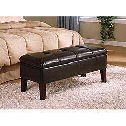 Dark Brown Bi-Cast Leather Storage Bench