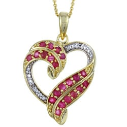 Glitzy Rocks 18k Gold over Sterling Silver Ruby Heart Necklace