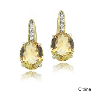 Glitzy Rocks Sterling Silver Gemstone and Diamond Accent Leverback Earrings (3 options available)