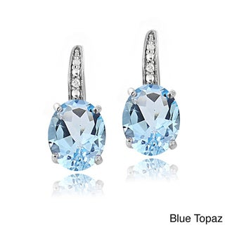 Glitzy Rocks Sterling Silver Gemstone and Diamond Accent Leverback Earrings (4 options available)