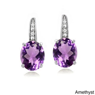 Glitzy Rocks Sterling Silver Gemstone and Diamond Accent Leverback Earrings (Option: Amethyst)