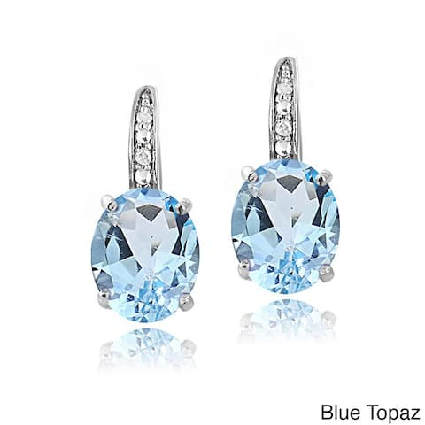 Glitzy Rocks Sterling Silver Gemstone and Diamond Accent Leverback Earrings (I-J, I2-I3)