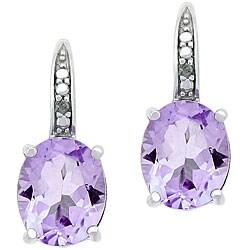 Glitzy Rocks Sterling Silver 4.7 CTW Rose de France/ Diamond Earrings