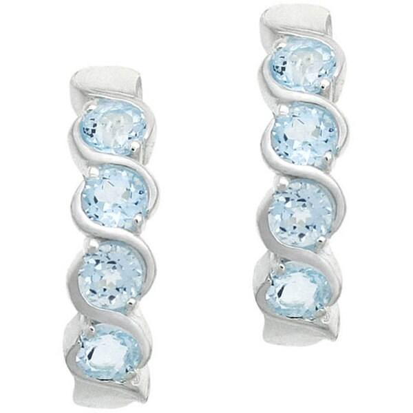 Glitzy Rocks Sterling Silver Blue Topaz Twirl Earrings