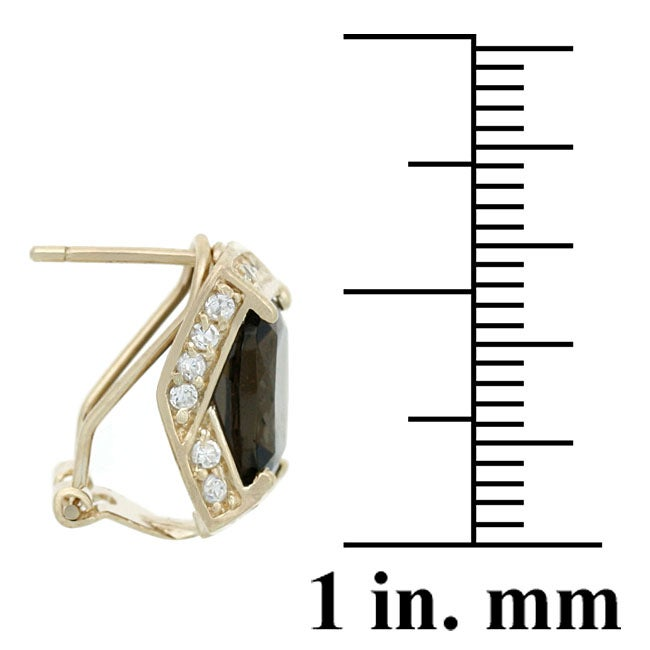 Glitzy Rocks 18k Gold Overlay Smokey Quartz and White Topaz Earrings - Thumbnail 1