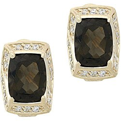 Glitzy Rocks 18k Gold Overlay Smokey Quartz and White Topaz Earrings