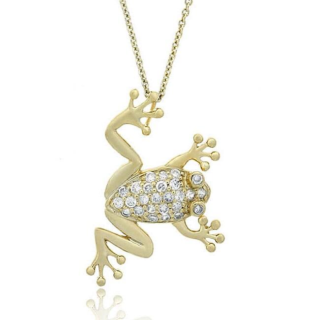 Icz Stonez 18k Gold over Sterling Silver CZ Frog Slide Necklace