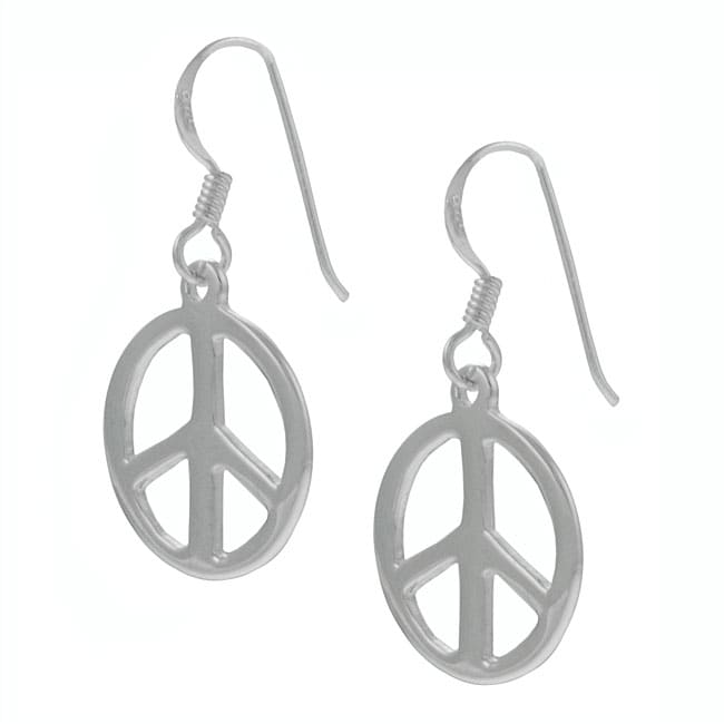 Journee Collection Sterling Silver Peace Symbol Earrings