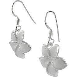 Journee Collection Sterling Silver Plumeria Earrings