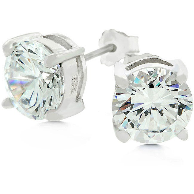Kate Bissett White Gold Bonded Sterling Silver Stud CZ Earrings - Thumbnail 0