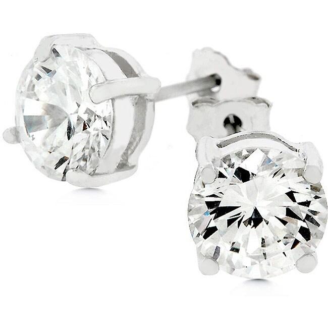 Kate Bissett 14k White Gold over Silver CZ Stud Earrings