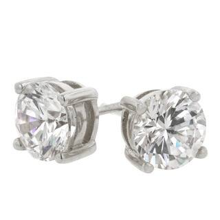 Kate Bissett 14k White Gold-over-Sterling Silver CZ Stud Earrings|https://ak1.ostkcdn.com/images/products/3402995/P11485666.jpg?impolicy=medium
