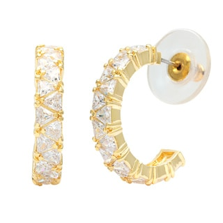 Kate Bissett 14k Gold-bonded Trillion-cut Clear or Champagne CZ Hoop Earrings