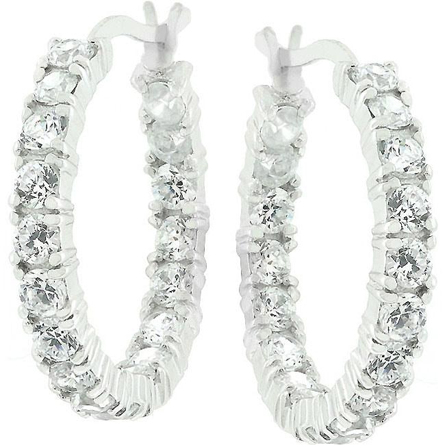 Kate Bissett Sterling Silver Cubic Zirconia Eternity Hoops