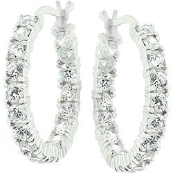 Kate Bissett Sterling Silver Cubic Zirconia Eternity Hoops