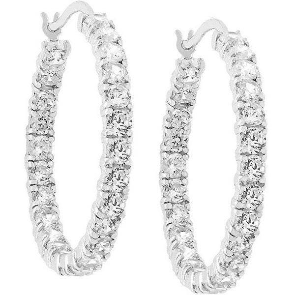 Kate Bissett Silvertone Cubic Zirconia Eternity Hoop Earrings