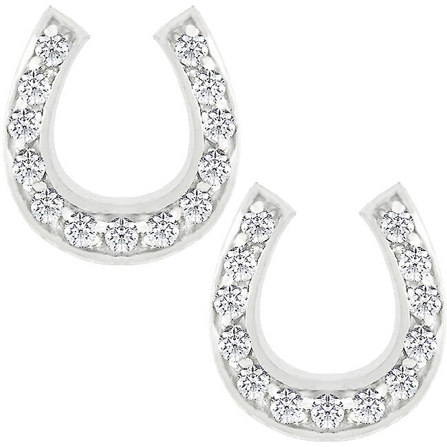 Kate Bissett Silvertone Cubic Zirconia Horseshoe Earrings