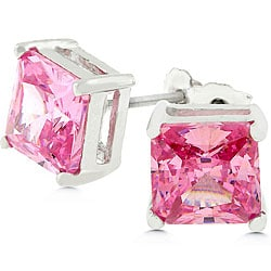 Kate Bissett Sterling Silver Princess-cut Pink Ice CZ Studs