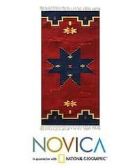 Handmade Zapotec 'Universe Star' Wool Rug - 2'5 x 5' (Mexico)