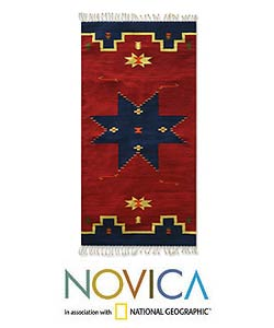 Zapotec 'Universe Star' Wool Rug (2'5 x 5') - 2'5 x 5'